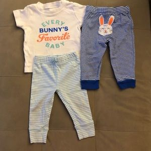 Easter shirt sleeved tee with 2 pairs of pants